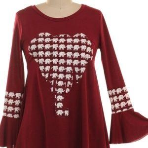 60d006d7697a30 ONE BLESSED NANA Tops - NWT   BOUTIQUE   Crimson Elephant Tunic 3X PLUS